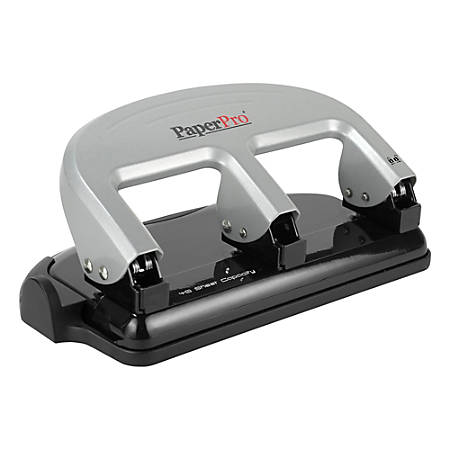 Bostitch® EZ Squeeze™ Three-Hole Punch, 40 Sheet Capacity, Black/Silver