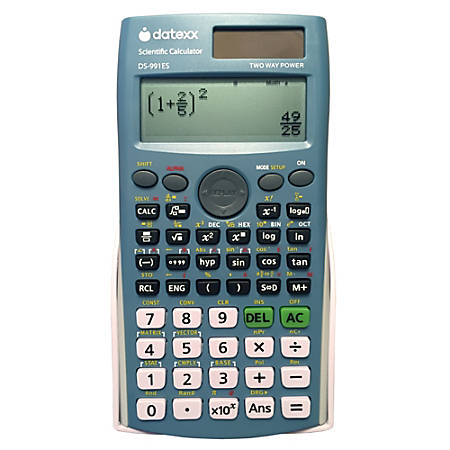 Datexx DS-991ES 4-Line FX-991ES Compatible Dual Power Scientific Calculator with Natural Textbook Display