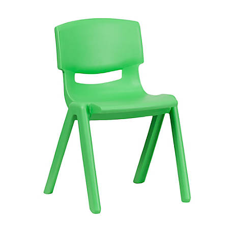"""Flash Furniture Plastic Stackable School Chair With 13-1/4"""" Seat Height, Green"""