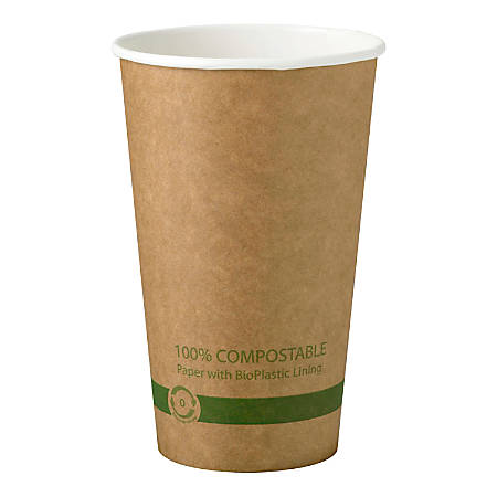 World Centric® Hot Kraft Paper Cup With Ingeo™ Lining, 16 Oz, Tan, Pack Of 1,000