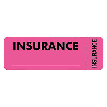 "Tabbies® Permanent ""Insurance"" Label Roll, TAB06420, Pink, Roll Of 250"