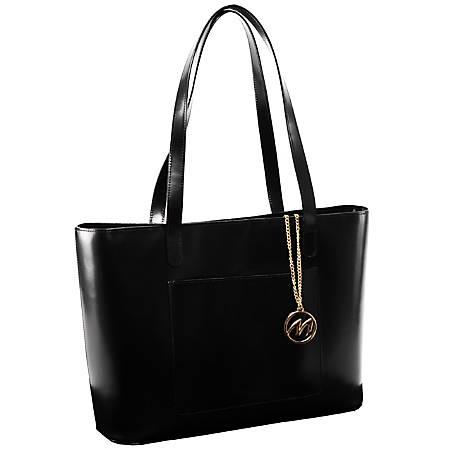 "McKleinUSA® M Series ALYSON Leather Shoulder Tote, 16""H x 6""W x 12""D, Black"