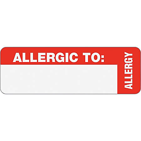 "Tabbies® Permanent ""Allergic To:"" Medical Wrap Label Roll, TAB40562, Red, Roll Of 500"
