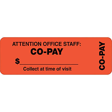 """Tabbies® Permanent """"Co-Pay"""" Wrap Label Roll, TAB40566, Orange, Roll Of 500"""