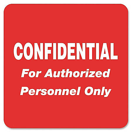 "Tabbies® Permanent ""Confidential Authorized Personnel"" Only Label Roll, TAB40570, Red, Roll Of 500"