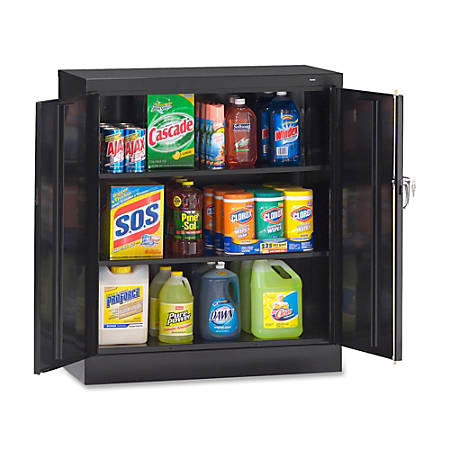 """Tennsco Counter-High Storage Cabinet With Reinforced Doors, 42""""H x 36""""W x 18""""D, Black"""