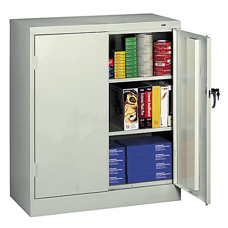 "Tennsco Counter-High Storage Cabinet With Reinforced Doors, 42""H x 36""W x 18""D, Light Gray"