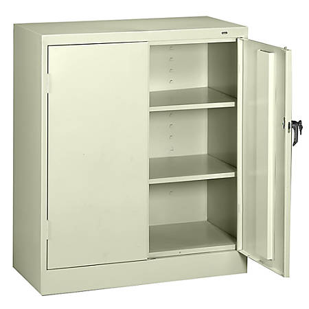 "Tennsco Counter-High Storage Cabinet With Reinforced Doors, 42""H x 36""W x 18""D, Putty"