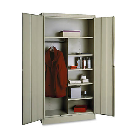 "Tennsco Combination Wardrobe/Storage Cabinet, 72""H x 36""W x 18""D, Putty"