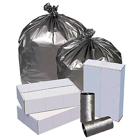 """Highmark™ Linear Low Density Can Liners, 1.6-mil, 40 - 45 Gallons, 40"""" x 46"""", Silver, Box Of 50"""