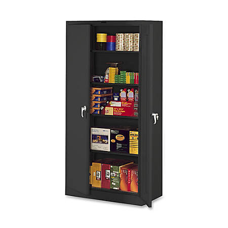 "Tennsco Full-Height Deluxe Storage Cabinet, 78""H x 36""W x 24""D, Black"