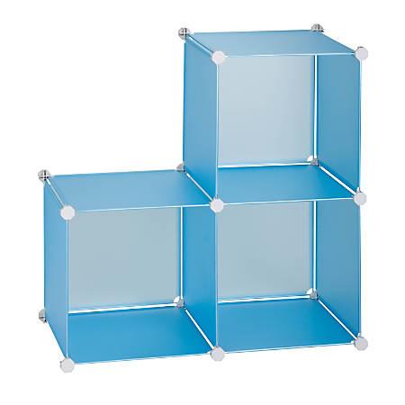 "Honey-Can-Do Modular Polypropylene Storage Cubes, 30 1/4""H x 30 1/4""W x 14 3/4""D, Translucent Blue, Pack Of 3"