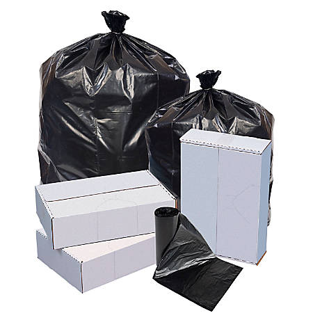 "Highmark™ Repro 70% Recycled Can Liners, 1.25 mil, 56 Gallons, 43"" x 47"", Black, Box Of 100"