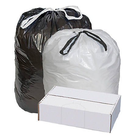 "Highmark™ Draw And Tie Can Liners, 0.7-mil, 10 - 15 Gallons, 24"" x 28"", White, Box Of 300"