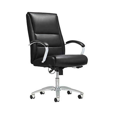 Realspace® Modern Comfort Series Morgan High-Back Bonded Leather Chair, Black/Chrome