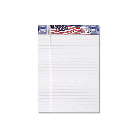 "TOPS American Pride Binding Legal Writing Tablet - Jr.Legal - 50 Sheets - Strip - 16 lb Basis Weight - 5"" x 8"" - White Paper - Perforated, Bleed Resistant - 3 / Pack"