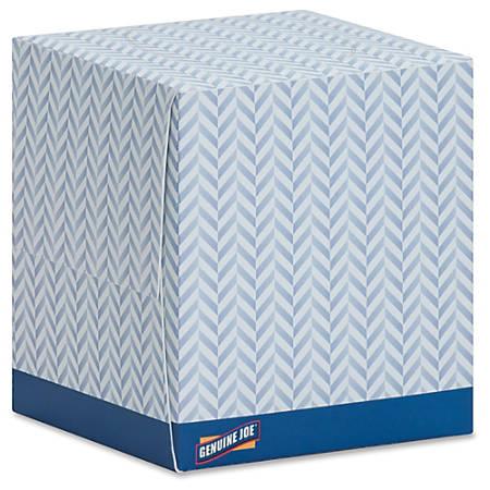 Genuine Joe Cube Box Facial Tissue - 2 Ply - White - Soft, Interfolded, Comfortable - For Face - 85 Sheets Per Box - 36 / Carton