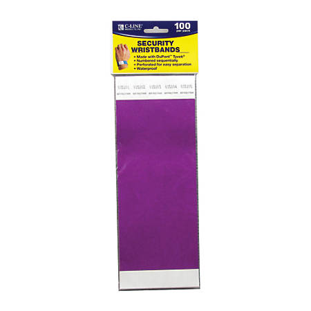 "C-Line® DuPont™ Tyvek® Security Wristbands, 3/4"" x 10"", Purple, 100 Wristbands Per Pack, Set Of 2 Packs"