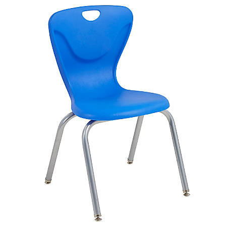 """ECR4Kids Contour Stacking Chairs, 32 5/8""""H, Blue/Silver, Set Of 4"""