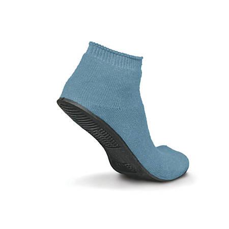 Sure-Grip® Terrycloth Slippers, Medium, Light Blue, Case Of 12 Pairs