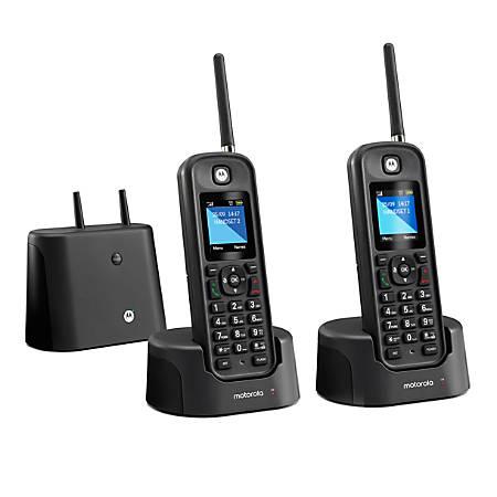 Motorola® O2 Series Long-Range Cordless Telephone With Digital Answering Machine, 2 Handsets, MOTO-O212
