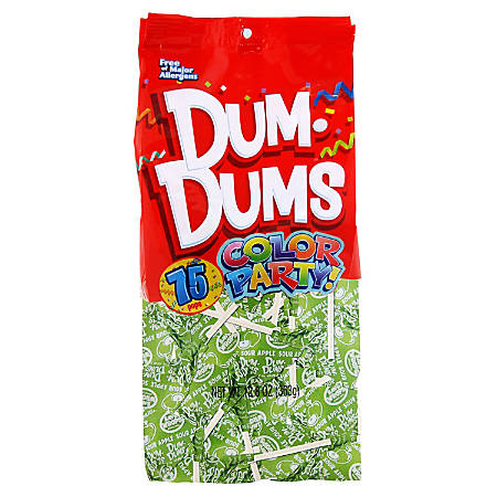 Dum Dums Sour Apple Lollipops, Party Bright Green Color, 12.8 Oz, Bag Of 75, Pack Of 2 Bags