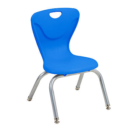 "ECR4Kids Contour Stacking Chairs, 23 13/16""H, Blue/Silver, Set Of 4"