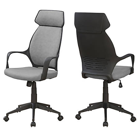 Monarch Specialties High-Back Office Chair, Gray/Black