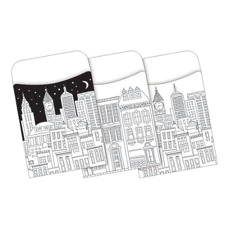 Barker Creek Peel & Stick Library Pockets, Color Me! Cityscapes, Pack Of 30