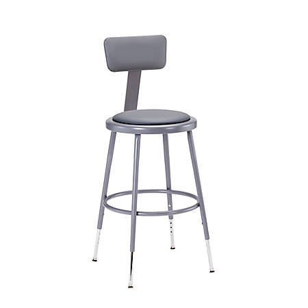 "National Public Seating Adjustable Vinyl-Padded Stool With Back, 32 - 41""H, Gray"