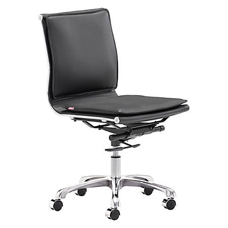 Zuo® Lider Plus Armless Low-Back Office Chair, Black/Chrome