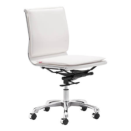 Zuo® Lider Plus Armless Low-Back Office Chair, White/Chrome