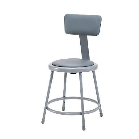 "National Public Seating Vinyl-Padded Stool With Back, 18""H, Gray"