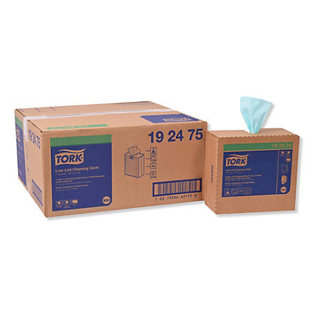 """Tork Low-Lint Cleaning Cloths, 9"""" x 16-1/2"""", Turquoise, 100 Wipes Per Box, Pack Of 8 Boxes"""