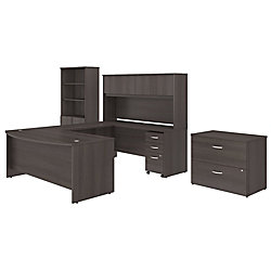 "Bush Business Furniture Studio C 72""W x 36""D U Shaped Desk with Hutch, Bookcase and File Cabinets, Storm Gray, Premium Installation"
