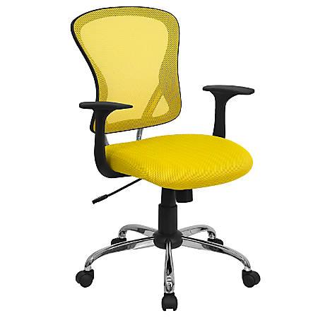 Flash Furniture Mesh Mid-Back Task Chair, Yellow/Black/Chrome