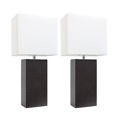 "Elegant Designs Modern Leather Table Lamps, 21""H, White Shade/Espresso Brown Base, Set Of 2 Lamps"
