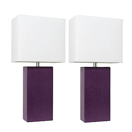 """Elegant Designs Modern Leather Table Lamps, 21""""H, White Shade/Eggplant Base, Set Of 2 Lamps"""