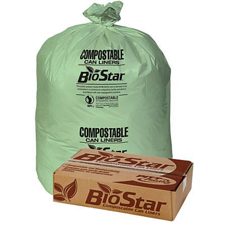 "Pitt Plastics BioStar Compostable Liners, 1-mil, 33"" x 39"", Green, Box Of 100"