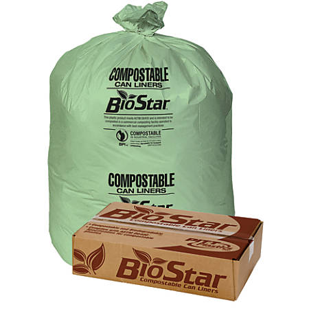"Pitt Plastics Compostable Liners, 1-mil, 38"" x 58"", Green, Box Of 100"