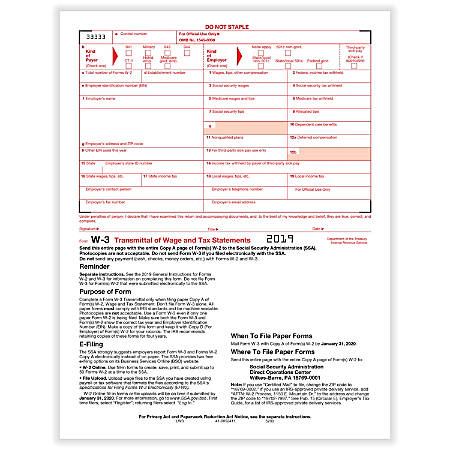 """ComplyRight™ W-3 Transmittal Tax Forms, 8-1/2"""" x 11"""", Pack Of 50 Forms"""