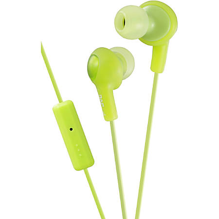 JVC Gumy Plus Inner Ear Headphones With Remote & Mic - Stereo - Wired - 16 Ohm - 10 Hz - 20 kHz - Earbud - Binaural - Open - 3.28 ft Cable - Green