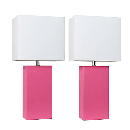 """Elegant Designs Modern Leather Table Lamps, 21""""H, White Shade/Hot Pink Base, Set Of 2 Lamps"""