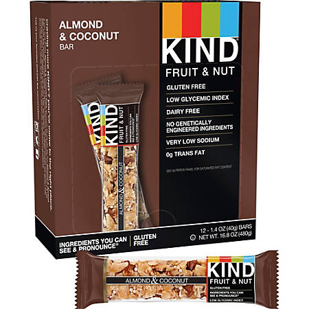 KIND Almond And Coconut Fruit And Nut Bars, 1.4 Oz, Box Of 12