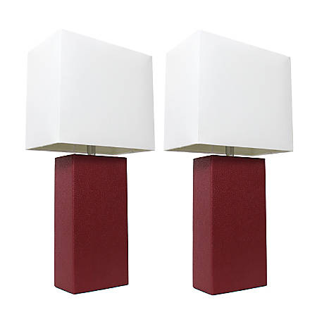 "Elegant Designs Modern Leather Table Lamps, 21""H, White Shade/Red Base, Set Of 2 Lamps"