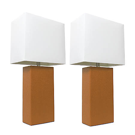 """Elegant Designs Modern Leather Table Lamps, 21""""H, White Shade/Tan Base, Set Of 2 Lamps"""