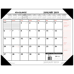 "AT-A-GLANCE® Two-Color Monthly Desk Pad, 21 3/4"" x 17"", Black/Red, January to December 2019"