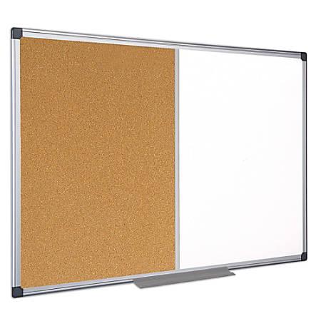 "MasterVision® Cork/Dry-Erase Combination Board, Melamine, 36"" x 48"", Aluminum Frame"