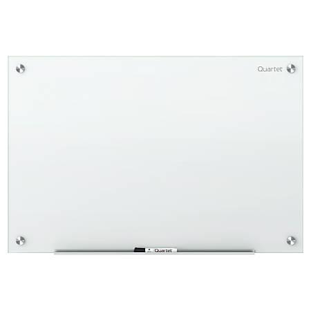 """Quartet Infinity™ Frameless Glass Dry-Erase Board, Non-Magnetic, 48"""" x 36"""", White"""