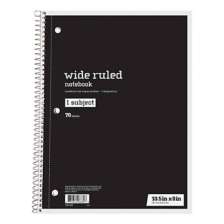 """Just Basics® Spiral Notebook, 7 1/2"""" x 10 1/2"""", Wide Ruled, 140 Pages (70 Sheets), Black"""